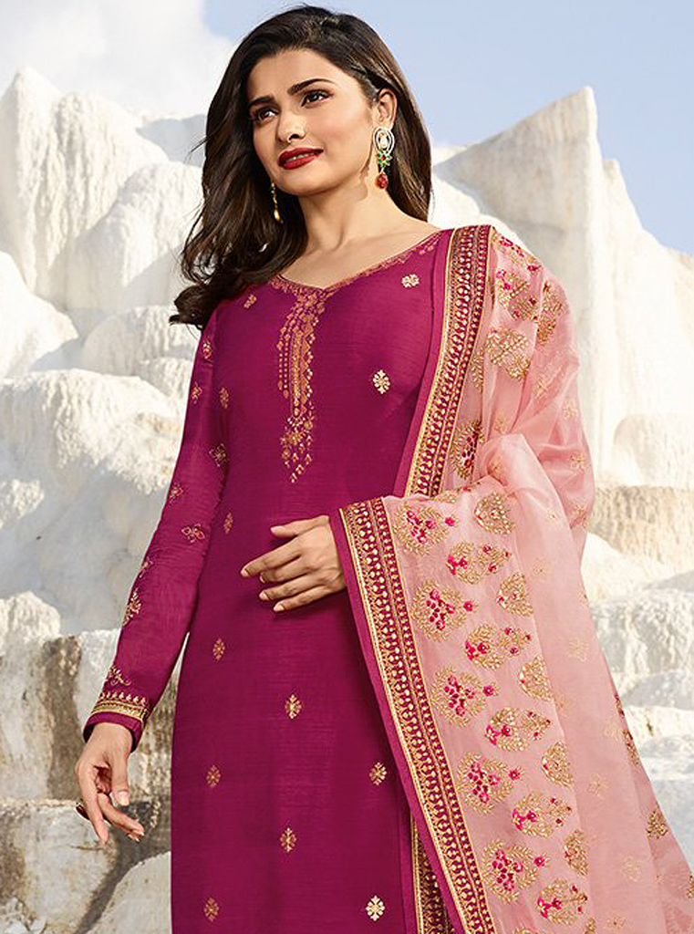 Magenta & Light Pink Designer Embroidered Party Wear Pant Suit-Saira's Boutique