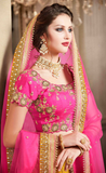 Magenta & Mustard Yellow Designer Heavy Embroidered Brocade Wedding Lehenga