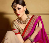 Magenta & Beige Designer Embroidered Party Wear Saree