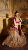 Magenta Purple & Beige Designer Embroidered Party Wear Saree