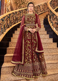 Maroon Designer Heavy Embroidered Net Bridal Anarkali Suit-Saira's Boutique