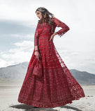 Maroon Designer Heavy Embroidered Wedding Pant Style Anarkali Suit-Saira's Boutique