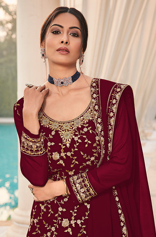 Maroon Designer Heavy Embroidered Wedding Sharara Suit-Saira's Boutique