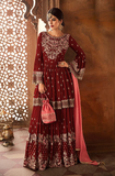 Maroon & Coral Pink Designer Heavy Embroidered Georgette Sharara Suit-Saira's Boutique