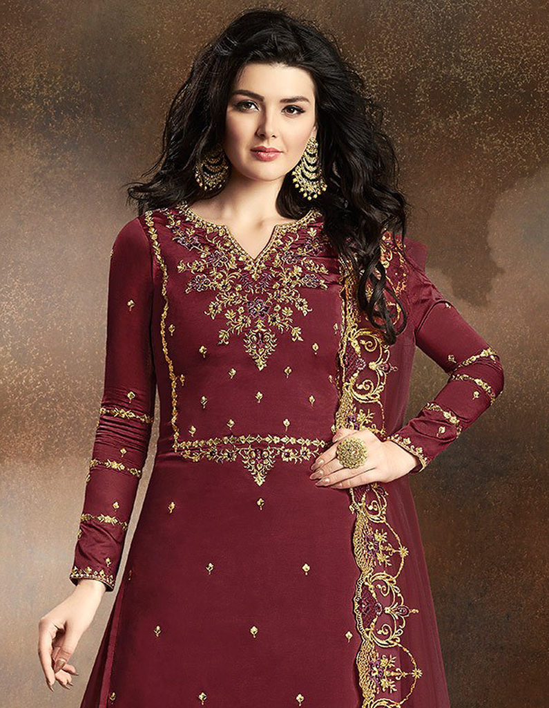 Maroon Designer Embroidered Art Silk Sharara Suit-Saira's Boutique