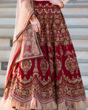 Maroon Designer Heavy Embroidered Banglori Silk Wedding Lehenga Choli-Saira's Boutique