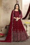 Maroon Designer Heavy Embroidered Georgette Wedding Anarkali Suit-Saira's Boutique