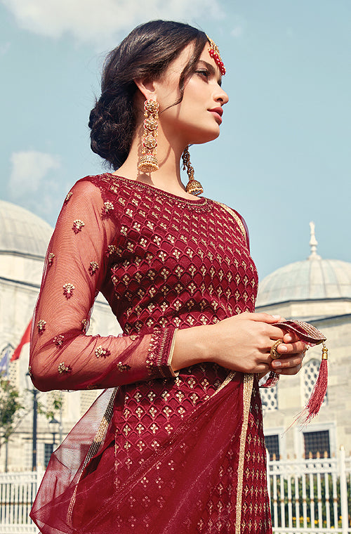 Maroon Designer Heavy Embroidered Net Gharara Suit-Saira's Boutique