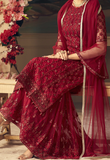 Maroon Designer Heavy Embroidered Net Sharara Suit-Saira's Boutique