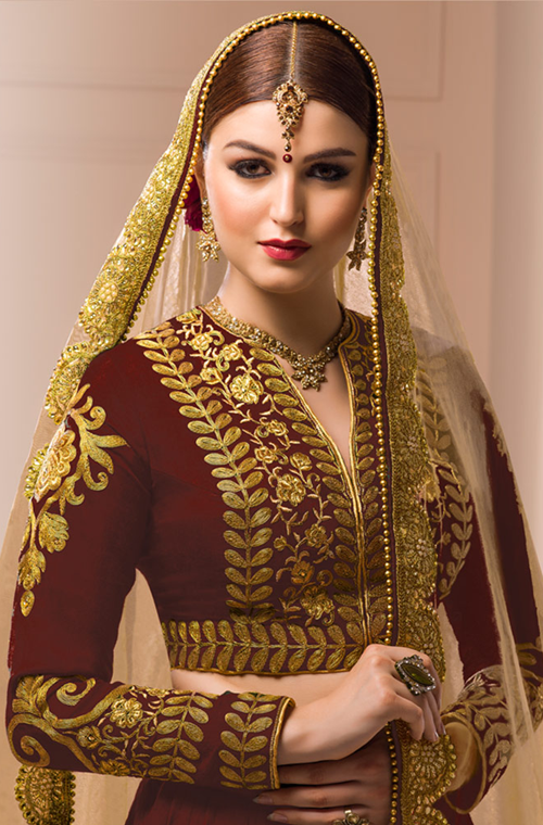 Maroon Designer Heavy Embroidered Silk Lehenga-Saira's Boutique