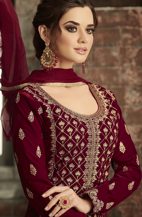 Maroon Designer Heavy Embroidered Velvet Pant Suit-Saira's Boutique
