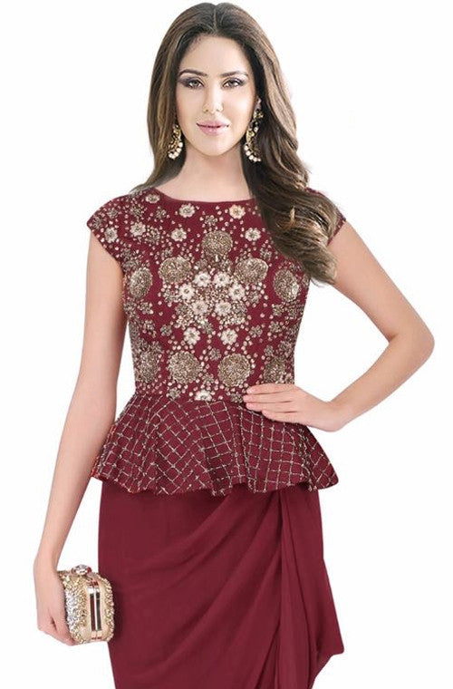 Maroon Embroidered Designer Evening Gown