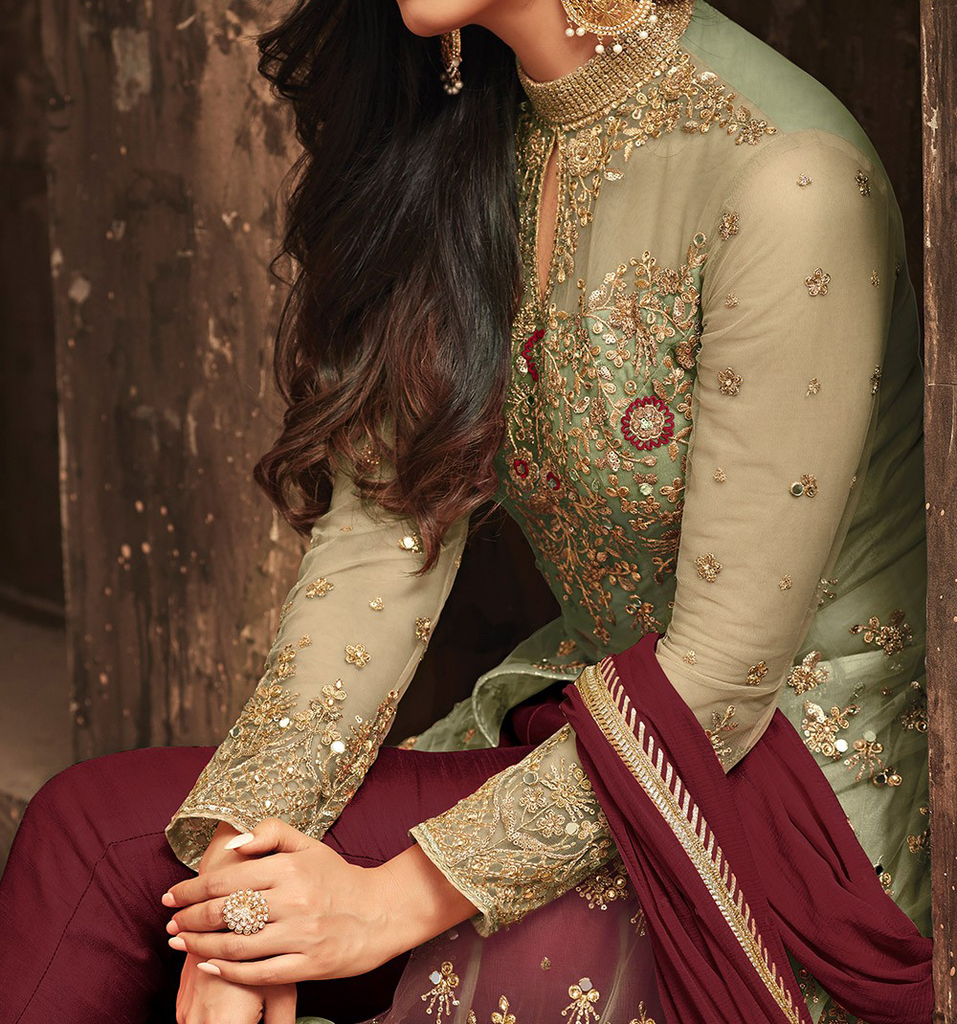 Maroon & Green Designer Heavy Embroidered Net Wedding Anarkali Lehenga-Saira's Boutique