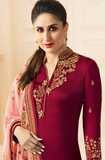 Maroon & Peach Designer Embroidered Crepe Churidar Suit-Saira's Boutique