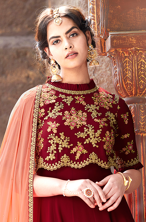 Maroon & Peach Designer Embroidered Party Wear Anarkali Suit-Saira's Boutique