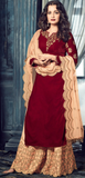Maroon & Peach Designer Embroidered Velvet Straight Palazzo Suit-Saira's Boutique