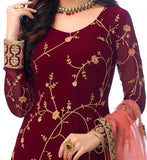 Maroon & Pink Designer Embroidered Georgette Churidar Suit-Saira's Boutique