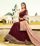 Maroon & Pink Designer Embroidered Silk Party Wear Anarkali Suit-Saira's Boutique