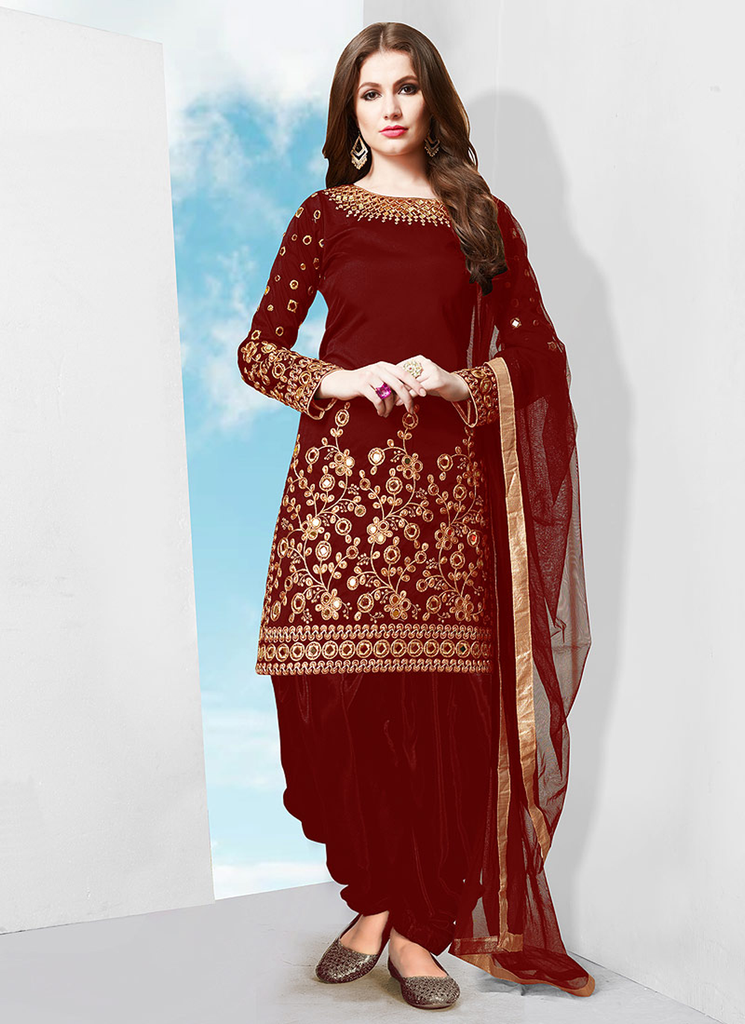 Maroon Red Designer Embroidered Mirror Work Patiala Suit-Saira's Boutique