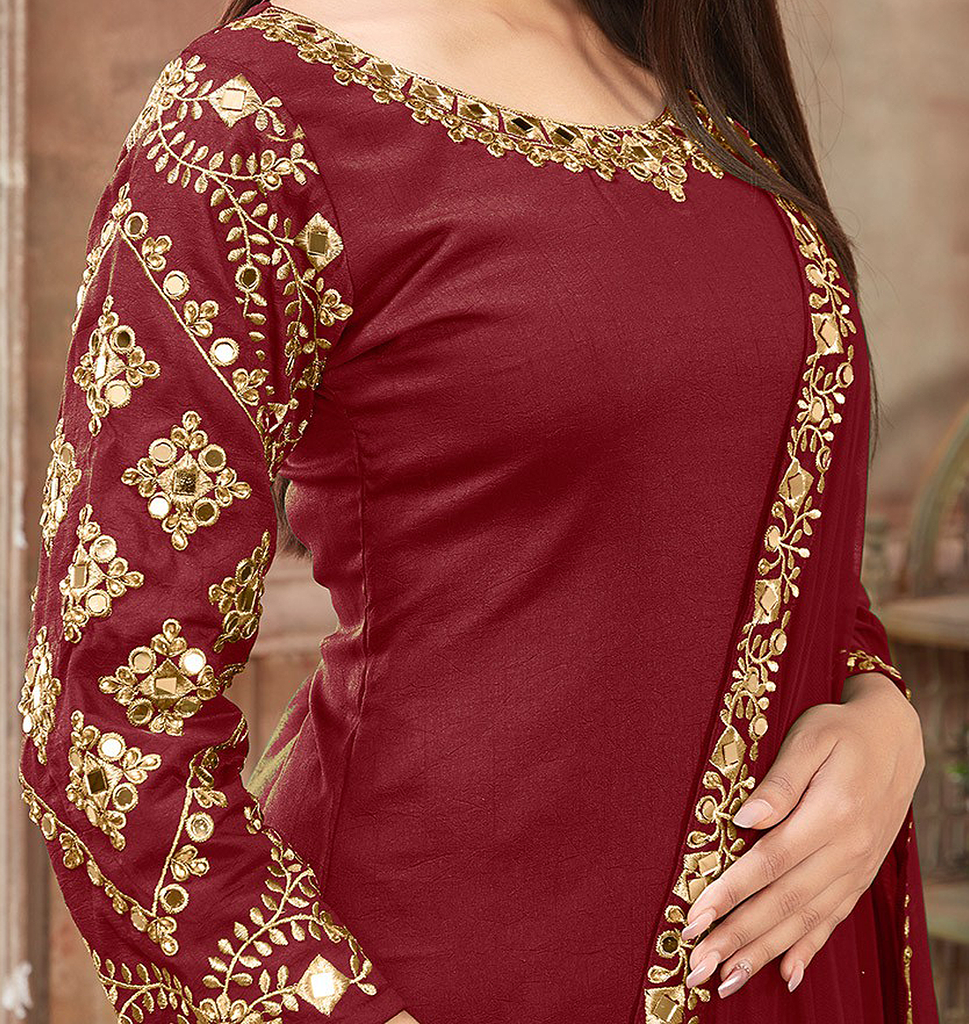 Maroon Red & Gold Designer Embroidered Art Silk Patiala Suit-Saira's Boutique