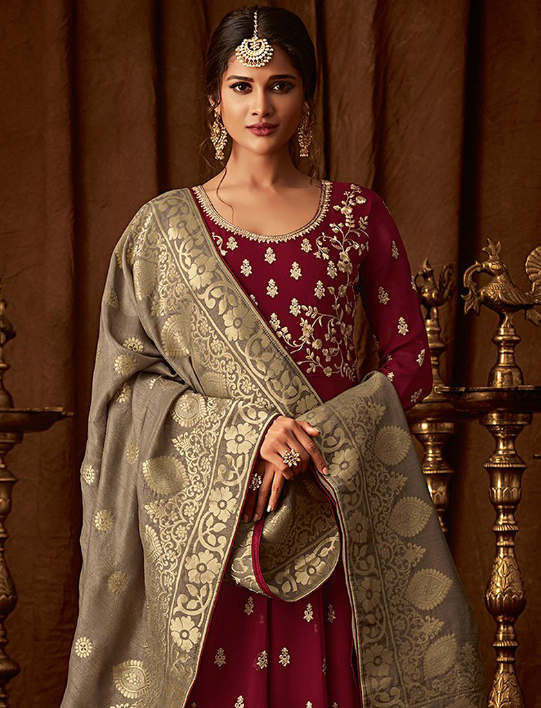 Maroon & Taupe Designer Heavy Embroidered Georgette Anarkali Lehenga-Saira's Boutique