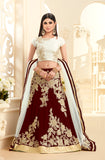 Maroon & White Embroidered Georgette Wedding Lehenga