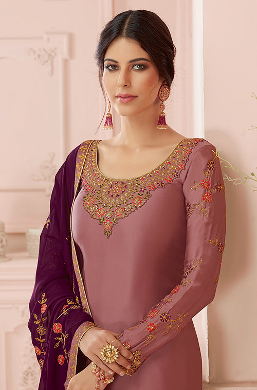 Mauve Pink & Dark Wine Designer Embroidered Satin Georgette Pant Suit-Saira's Boutique