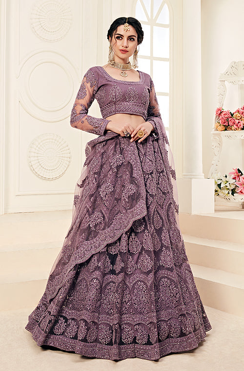 Mauve Purple Designer Heavy Embroidered Bridal Lehenga-Saira's Boutique