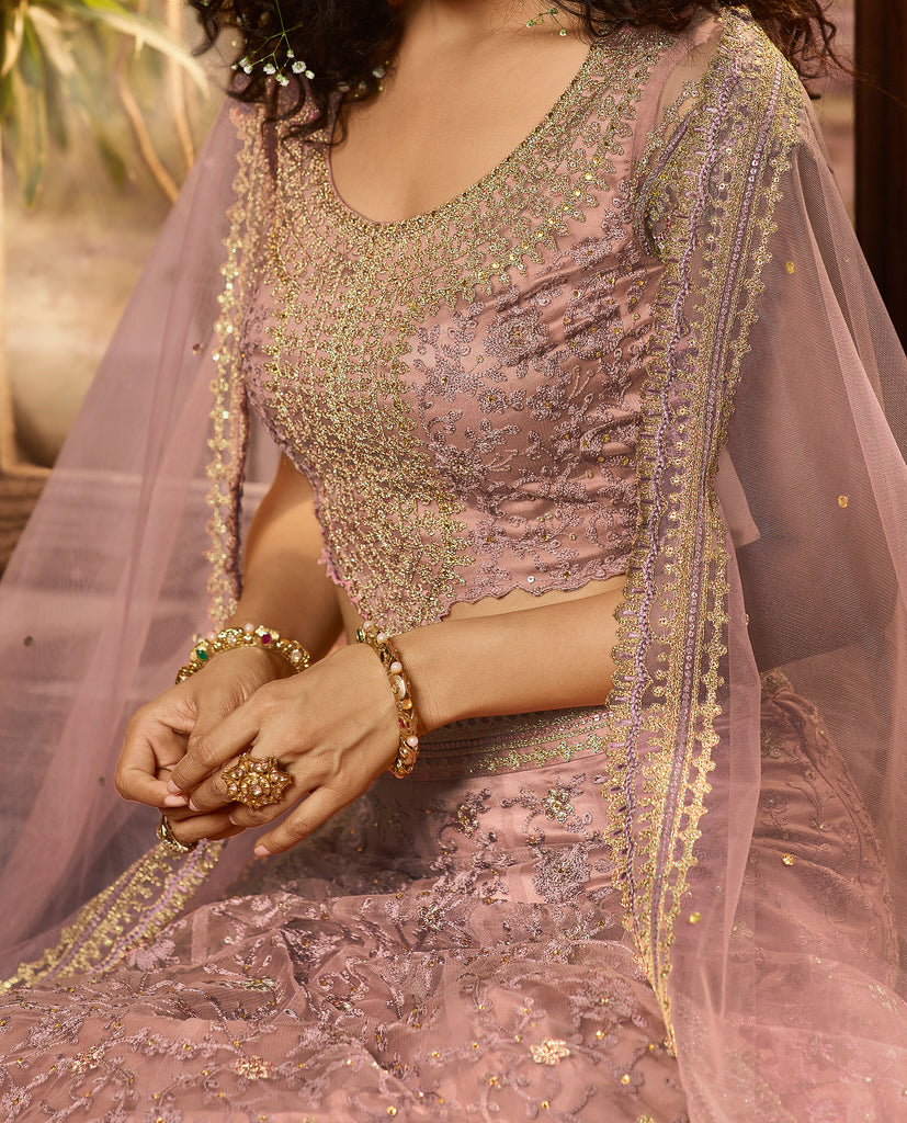 Mauve Purple Designer Heavy Embroidered Net Wedding & Bridal Lehenga-Saira's Boutique