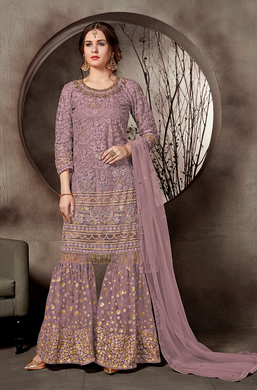 Mauve Designer Embroidered Net Party Wear Gharara Suit-Saira's Boutique