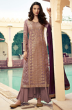 Mauve Designer Embroidered Silk Jacquard Party Wear Palazzo Suit-Saira's Boutique