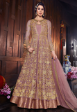 Mauve & Gold Designer Embroidered Silk Bridal Anarkali Gown-Saira's Boutique