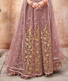 Mauve & Gold Designer Heavy Embroidered Net Wedding Anarkali Suit-Saira's Boutique