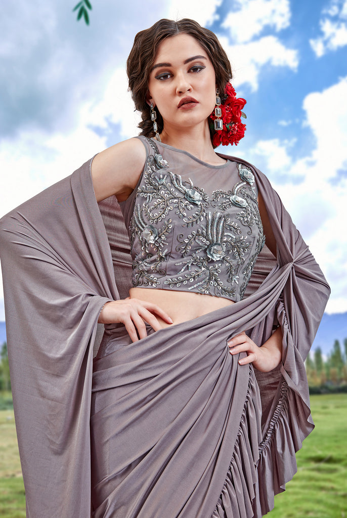 Mauve Gray Designer Embroidered Fancy Party Wear Frill Saree-Saira's Boutique