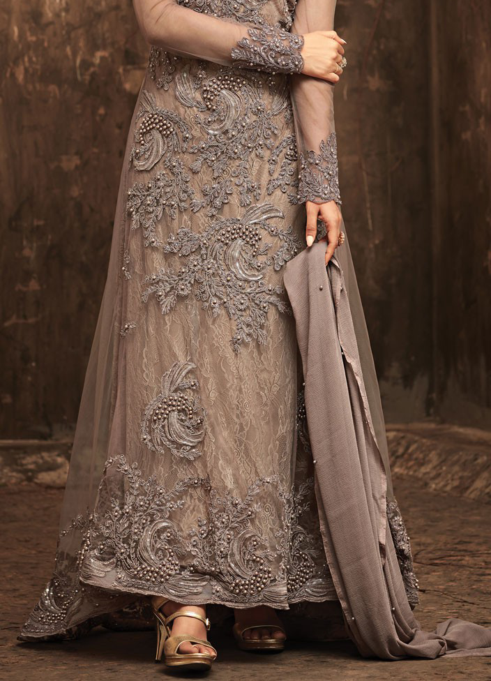 Mauve Gray Designer Heavy Embroidered Net Wedding Anarkali Gown-Saira's Boutique