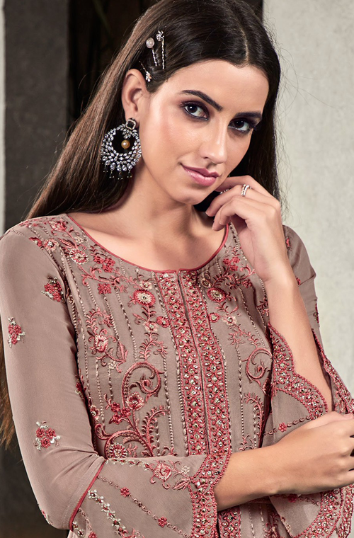 Mauve Gray & Pink Designer Heavy Embroidered Georgette Wedding Palazzo Suit-Saira's Boutique