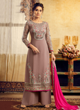 Mauve & Hot Pink Designer Embroidered Georgette Palazzo Suit-Saira's Boutique
