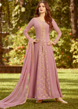 Mauve Purple Designer Embroidered Georgette Party Wear Anarkali Suit-Saira's Boutique