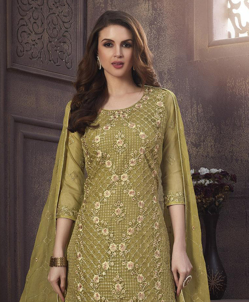 Mehendi Green Designer Embroidered Organza Party Wear Pant Suit-Saira's Boutique