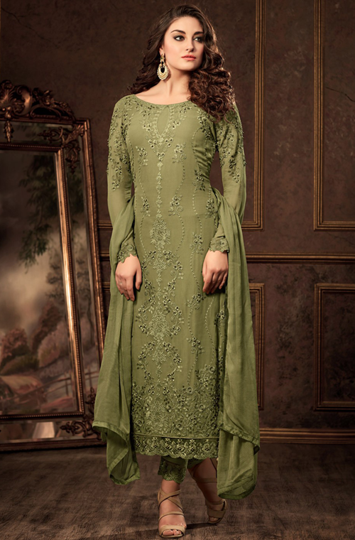 Mehendi Green Designer Embroidered Georgette Party Wear Pant Suit-Saira's Boutique