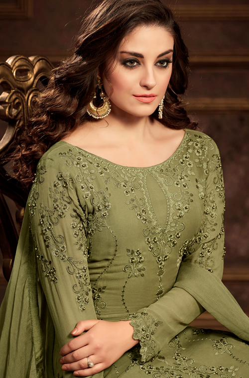 Mehendi Green Designer Embroidered Georgette Party Wear Pant Suit