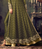 Mehendi Green Designer Heavy Embroidered Net Anarkali Suit