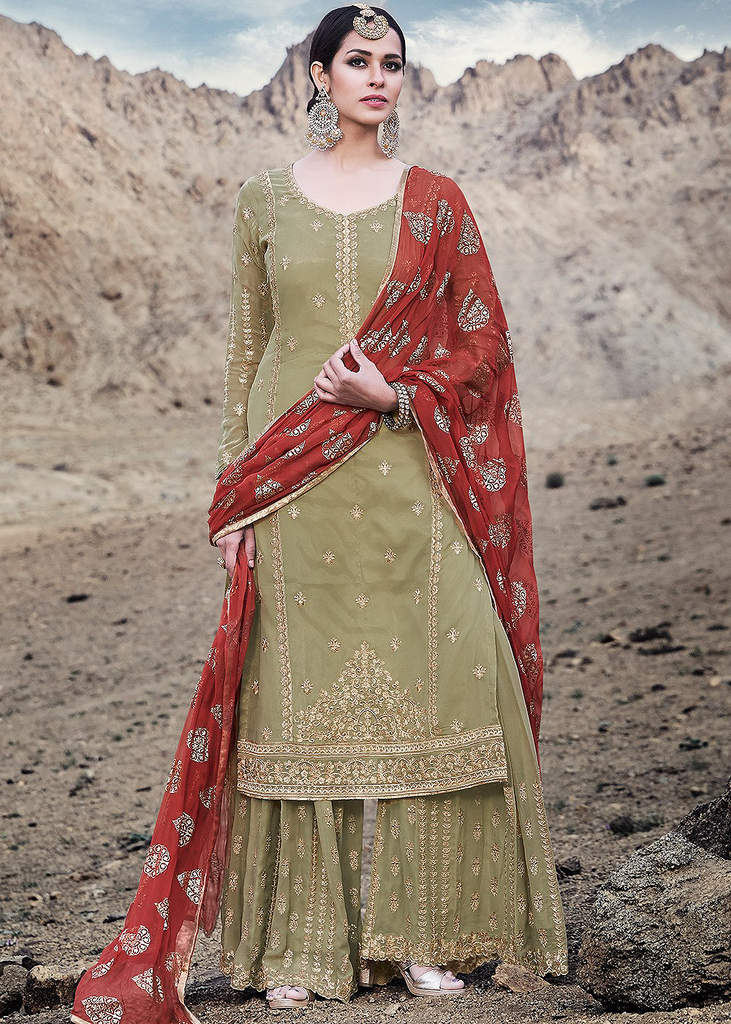 Mehendi Green & Maroon Designer Embroidered Georgette Sharara Suit-Saira's Boutique