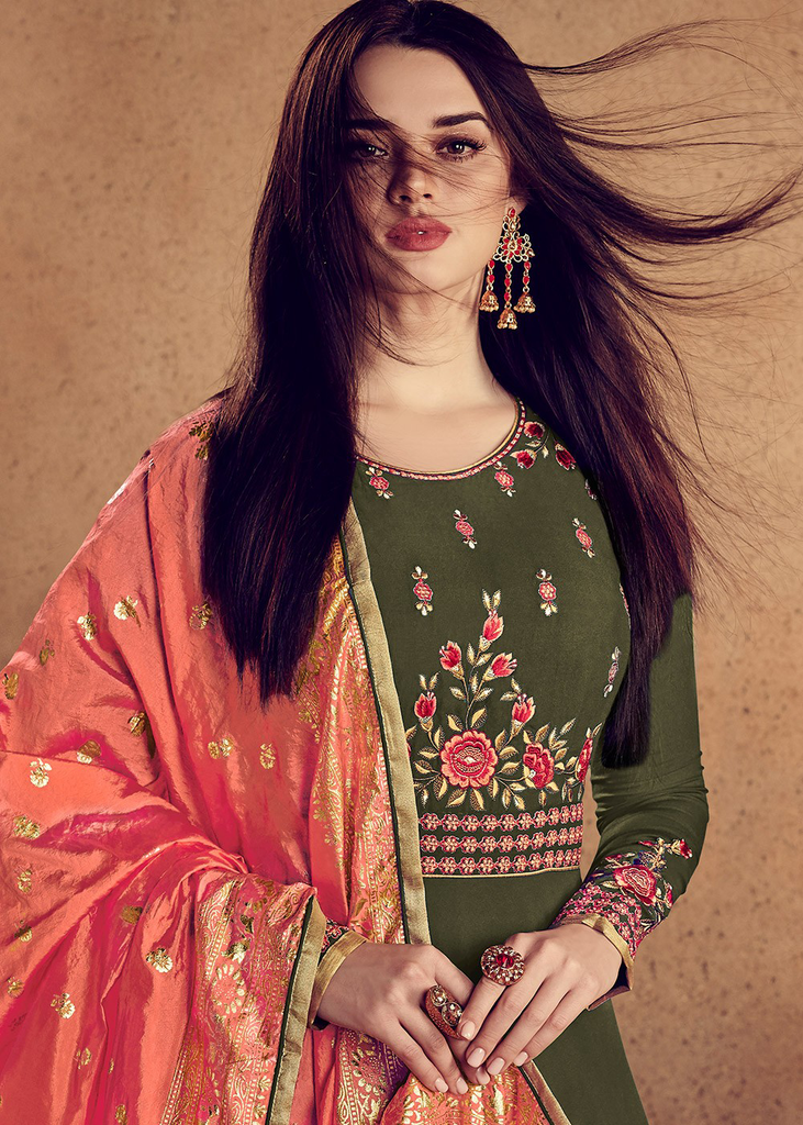 Mehendi Green & Orange Designer Embroidered Readymade Rayon Anarkali Suit-Saira's Boutique