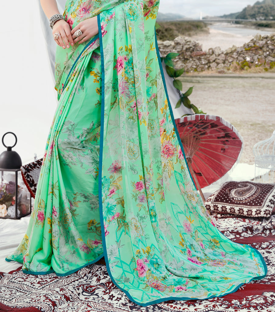 Mint Green Designer Floral Print Fancy Georgette Saree-Saira's Boutique