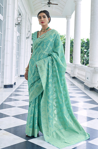 Sea Green & Turquoise Designer Embroidered Silk Jacquard Palazzo Suit