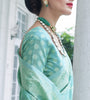 Mint Green Designer Heavy Embroidered Chikankari Party Wear Saree-Saira's Boutique