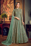 Mint Green Designer Heavy Embroidered Net Wedding Anarkali Gown-Saira's Boutique