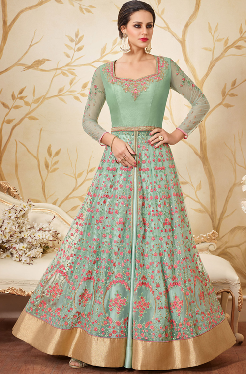Mint Green Designer Embroidered Net Indo-Western Gown – Saira\'s Boutique