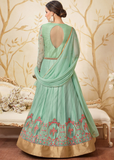 Mint Green Designer Embroidered Net Indo-Western Gown